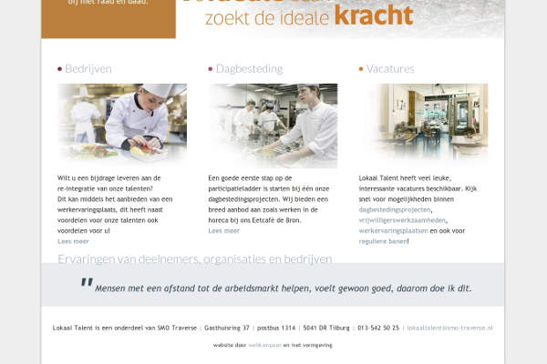 Lokaal Talent homepage met quotes